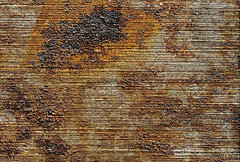 Rostfleck auf rezentem Werkzeug. Untere Bildkante ca. 2 cm